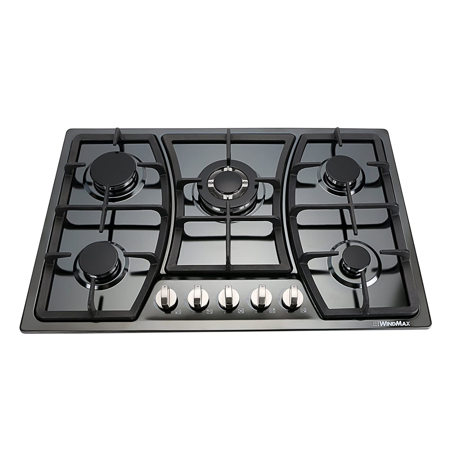 Windmax 30 Inchs Black Titanium Stainless Steel 5 Burners Built-In Stoves NG/LPG Cooktop Cookware