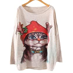 demetory women novelty christmas cat print batwing sleeve sweater plus size ugly christmas sweaters