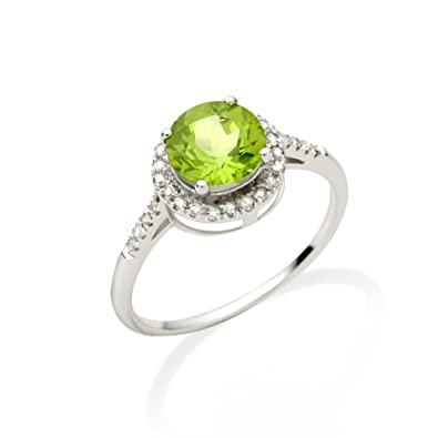 Miore Jm021R14W 9Ct White Gold Ladies Round Peridot Stone & Diamond Ring