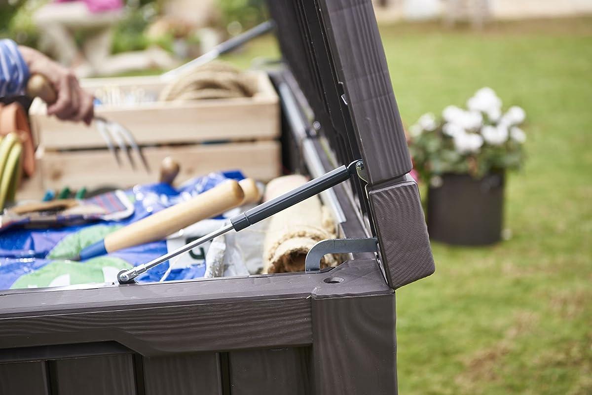 Keter Rockwood Plastic Deck Storage Container Box Outdoor Patio Garden Furniture 150 Gal, Brown