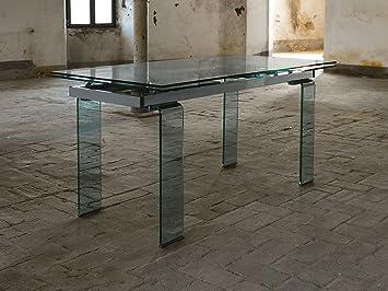 Zamagna - Tavolo allungabile in vetro Glaze, Dimensioni: L 160 P 80