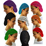 Value Pack- 12 Beautiful Hair Net Snoods (Color: 12 Bright Color Hair Net Snoods, Tamaño: One Size)