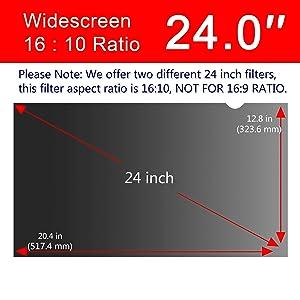 Magicmoon Privacy Filter Screen Protector, Anti-Spy&Glare Film for 24 inch Widescreen Computer Monitor (24'', 16:10 Aspect Ratio) (Tamaño: 24 Widescreen (16:10))