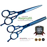Suvorna Professional Barber Blue Titanium Razor Edge Hair Cutting and Texturizing Scissors Set Razpro P55, Blue, 16 Ounce (Color: Blue)