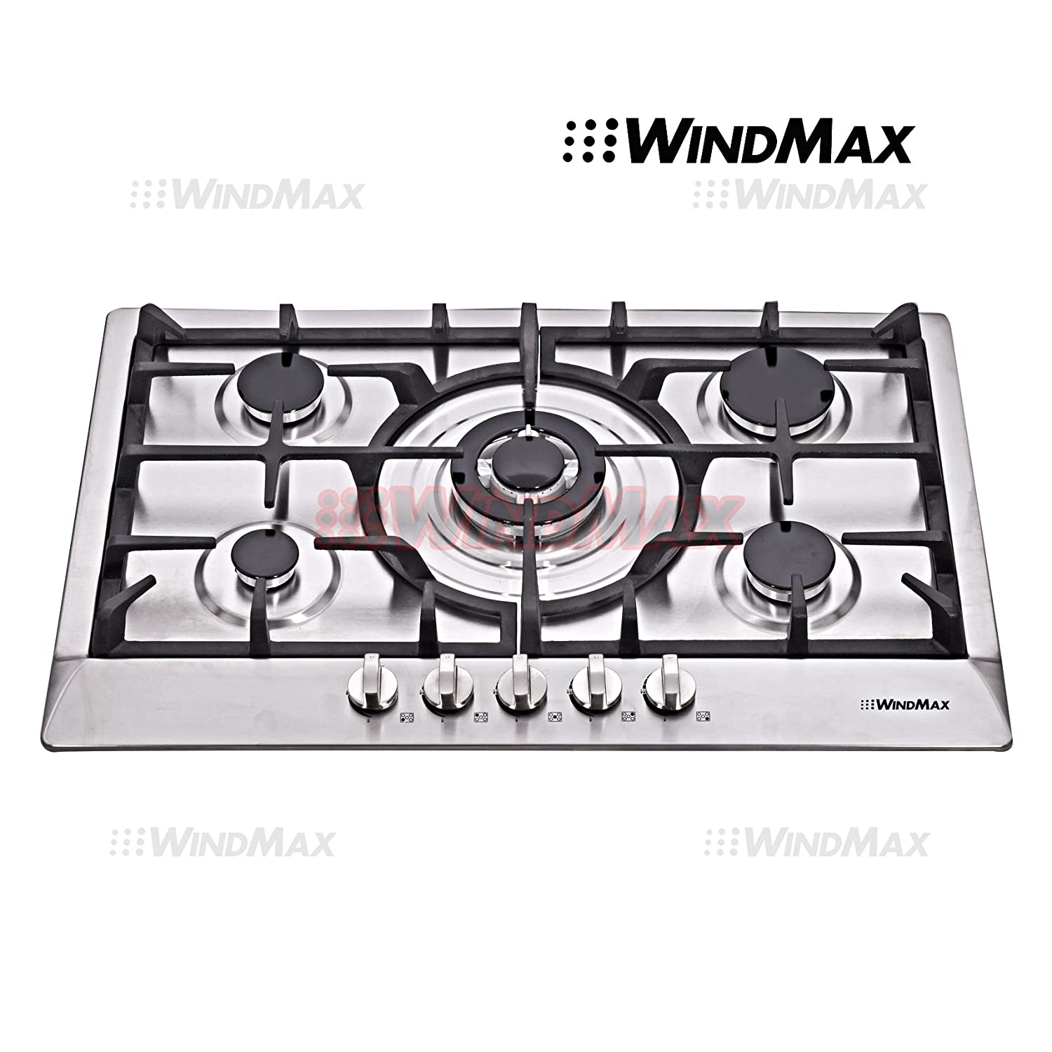 "WindMax® 30"" Stainless Steel 5 Burner Built-In Stoves NG/LPG Gas Cooktops Kitchen Cooker"