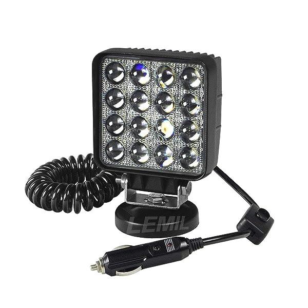 LEMIL 48W 5D Lens LED Work Light 12V Spot Light Driving Fog Light Off Road Spot Beam Lamp Boat Light with Magnetic Base Waterproof Emergency Light for Truck SUV 12V 24V Searchlight (Color: White)