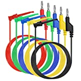 Sumnacon 39 Inch Multimeter Test Lead Set - 5 Pcs Stackable Banana Plug to Minigrabber Test Hook Wire Cable Kit with Protective, Soft Silicone Flexible Wire Leads for Electrical Testing 500V/5A (Color: Type 3)