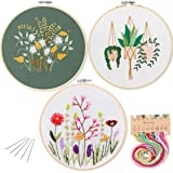 3 Pack Embroidery Starter Kit with Pattern,Kissbuty Full Range of Stamped Embroidery Kits with 3 Pcs Embroidery Cloth with Pattern,1 Pc Bamboo Embroidery Hoop,Color Threads Tools Kit (Plants Flowers) (Color: Plants Flowers)