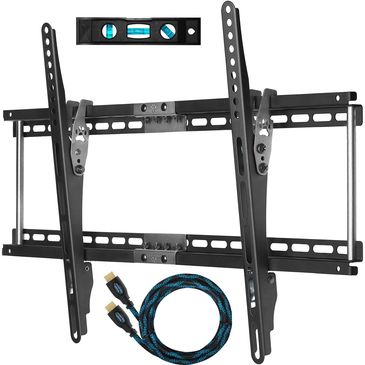 "Cheetah Mounts APTMM2B TV Wall Mount for 32-65"" TVs Bundle with 10-feet Braided HDMI Cable and a 6 Inch, 3-Axis Magnetic Bubble"