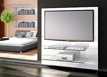TV Wand HN-111 Weiß Hochglanz TV Rack LCD inkl. TV-Halterung