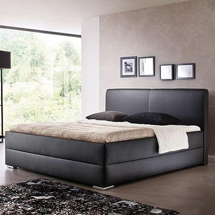 Polsterbett Kunst-Lederbett Schwarz Doppelbett Bettgestell Bett Komforthöhe Maggie, Größe:180x200 cm