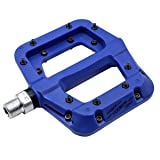 FOOKER Nylon Composite 9/16 Mountain Bike Pedals High-Strength Non-Slip Bicycle Pedals Surface For Road BMX MTB Fixie Bikes (Blue 3 bearings)