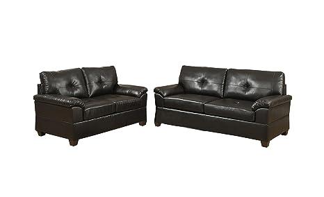 Poundex Bobkona Pacifica Bonded Leather 2-Piece Sofa and Loveseat Set, Espresso