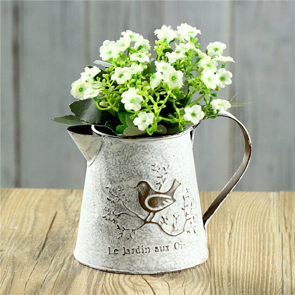 French Style White Shabby Chic Mini Metal Pitcher Flower Vase with Vintage Bird Decorative,Wrought iron Manual Plants Vase with Classical 0