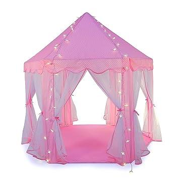 Truedays Tente de Jeu pour Enfants Château de Princesse pour Filles Grande Maison de Jouet Tente Pop Up de Princesse, Rose