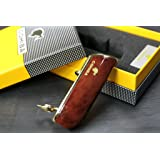 Promotion COHIBA Metal 3 TORCH JET FLAME CIGAR Cigarette LIGHTER WITH PUNCH (Red clouds) (Color: Red Clouds)