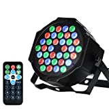 LUNSY 36 LEDs DJ Par Lights, RGB Changeable Color 7 Lighting Modes Stage Lights Remote Control (Color: 1 Pack)