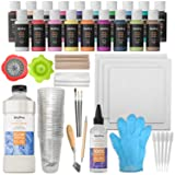 Nicpro Acrylic Pouring Art Supplies, Pouring Medium Starter Kit, 19 Colors Acrylic Paints with Pour Oil, 4 Pack Canvases, Cups, Mixing Sticks, Gloves, Strainers, Brushes, Dotting Pen for Painting (Color: Complete Pouring Set)