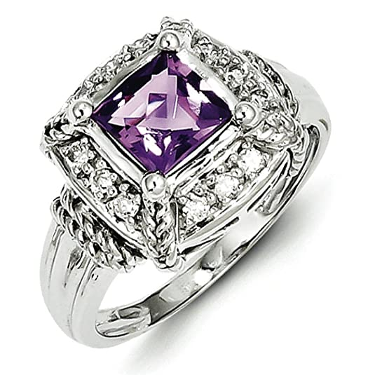 Sterling Silver Diamond and Amethyst Square Ring - Ring Size Options Range: L to R