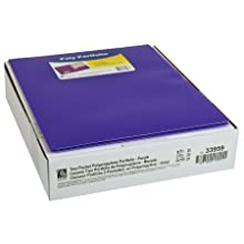 C-Line Two-Pocket Heavyweight Poly Portfolio, For Letter Size Papers, Includes Business Card Slot, 1 Case of 25 Portfolios, Purple (33959)