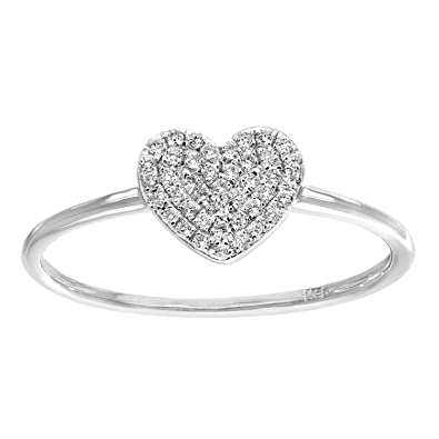Naava 18 ct White Gold 0.13ct Pave Set Diamond Heart Ring - Size O