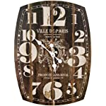 Oblong Black Decorative Wall Clock With Over Sized Numbers And Distressed Face Paris 20 x 27 inches Quartz movement