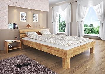 Massivholz-Doppelbett Buche natur 160x200 Ehebett Rollrost Matratze Holzbett 60.80-16 M