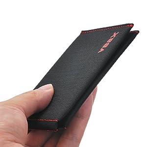 Ebax Bifold Minimalist Slim Wallet (Color: Black Microfiber, Tamaño: New Bifold Wallet Series)