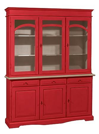 Cristalliera in legno massello finitura rosso, con 3 porte, 3 cassetti e 3 ante in vetro