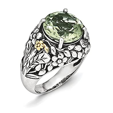Sterling Silver With 14ct Green Quartz Ring - Ring Size Options Range: L to P