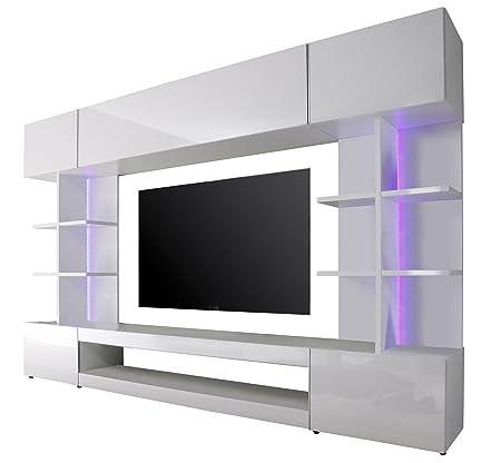 Maisonnerie 1546-961-01 Meuble TV Très Blanc Ultrabrillant 261 x 37 x 168 cm