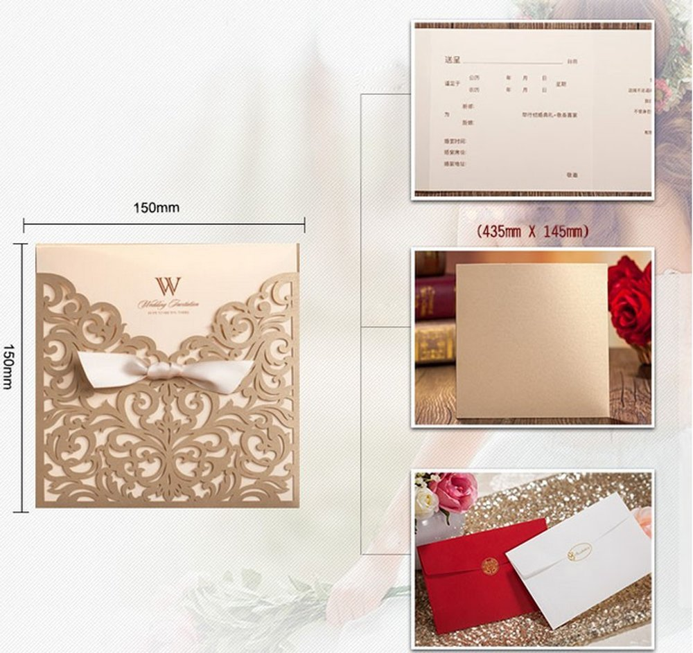 Wishmade 50x Gold Square Laser Cut Tri-fold Wedding Invitations Cards with Bow Lace Sleeve Invitations for Engagement Baby Shower Birthday Quinceanera (set of 50pcs) CW5011 1