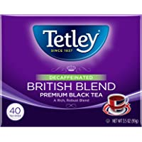 6-Pack Tetley British Blend Naturally Decaffeinated Premium Black Tea, 40-Count Tea Bags
