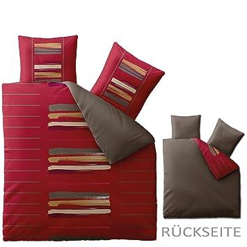 bettw sche 200x200 baumwolle trend helina rot braun dc460. Black Bedroom Furniture Sets. Home Design Ideas
