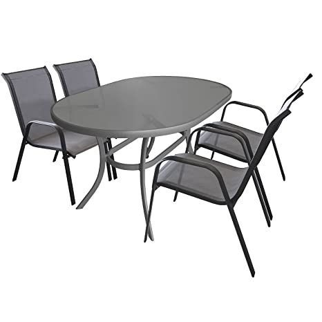 5tlg. Gartengarnitur Sitzgruppe Glastisch 140x90cm oval Terrassenmöbel Aluminium + 4x Alu Stapelstuhl Textilenbespannung Sitzgarnitur Gartenmöbel Balkonmöbel