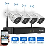 [Newest] Wireless Security Camera System, Firstrend 8CH 1080P Wireless NVR System with 4pcs 1.3MP IP Security Camera with 65ft Night Vision and Easy Remote View,P2P CCTV Camera System(No Hard Drive) (Color: 4pcs 960P Cams+8CH 1080P NVR(No HDD), Tamaño: 4 Cameras, No Hard Drive)