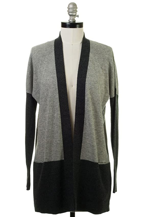 Vince Cashmere Colorblock Pointelle Trim Cardigan in Heather Steel-Heather Carbon