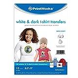 PrintWorks White & Dark T-Shirt Transfers Bundle, 10 White T-Shirt Transfers & 5 Dark T-Shirt Transfers, Inkjet Compatible (00542) (Color: Dark/White, Tamaño: 15 Sheets)