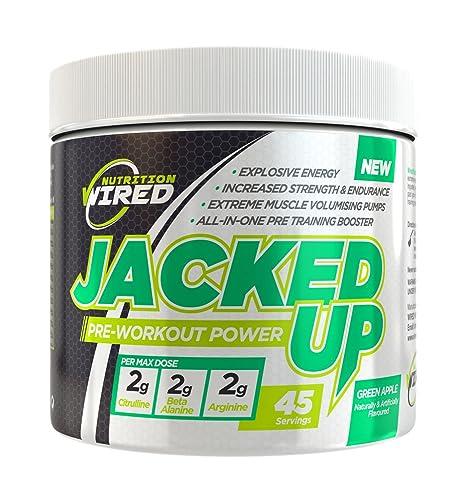 Jacked Up Ergänzungsmittel vor dem Training bei Nutrition Wired - Kraft & Ausdauer steigern-schafft aufbrausende, nachhaltige Energie – Alles-in-einem Training Booster–erhalten sie magere, risse Muskeln - 45 Po