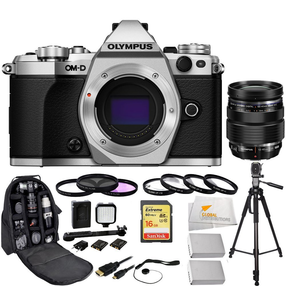 Olympus OM-D E-M5 Mark II (Silver) + Olympus M Zuiko Digital ED 12-40mm f/2.8 Pro Interchangeable Lens + Sandisk 16GB Extreme SDHC Class 10 Memory Card (SDSDXN-016G-G46)  ...