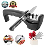 Knife Sharpener- Professional Kitchen Knife Sharpener 3 Stage Steel Diamond Ceramic Coated Kitchen Sharpening Tool with Cut Resistant Glove - Non-slip Base Chef Knife Sharpening Kit Easy to Control