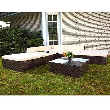 16tlg Gartenmöbel Lounge Polyrattan Sitzgruppe Rattanmöbel Garten Garnitur Braun