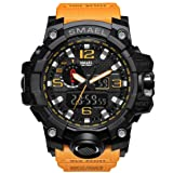 KXAITO Men's Sports Outdoor Waterproof Military Watch Date Multi Function Military LED Alarm Stopwatch (Color: orange)