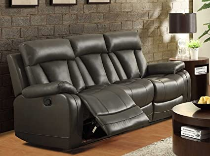 Homelegance 8500GRY-3 Double Reclining Sofa, Bonded Leather Match, Grey