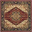 Safavieh Heritage Collection HG625A Handmade Red Wool Square Area Rug, 6 feet Square (6\' Square)