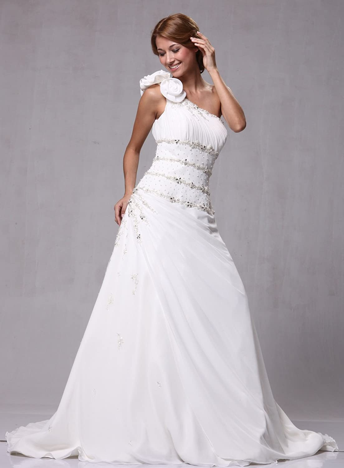 Satin Chiffon One Shoulder Bridal Wedding Formal Gown