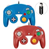 Click image to open expanded view VOYEE Gamecube Controller - 2 Pack Classic Wired Controllers Gamepad for Nintendo Wii Gamecube (Blue & Red) (Color: Blue & Red)