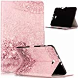 Galaxy Tab A 10.1 Case,ikasus Painted Marble PU Leather Fold Wallet Pouch Case Wallet Flip Cover Card Slots Stand Protective Case Cover for Galaxy Tab A 10.1 (2016) T580N/ T585N,Rose Gold Marble (Color: Rose Gold Marble)