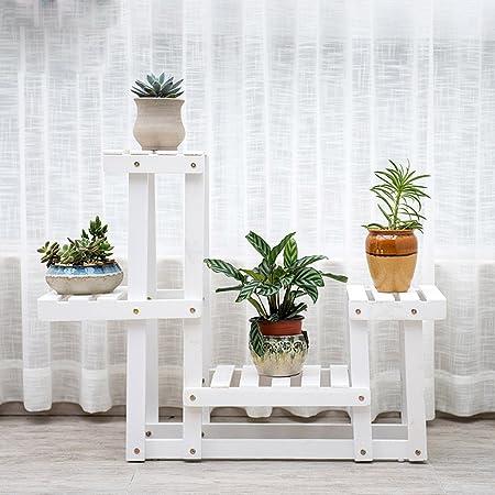 Weiß Massivholz Blumenständer Mehrstöckige Boden Blume Bonsai Holz Blume Regal Balkon Wohnzimmer Innenraum