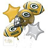 Andaz Press Balloon Bouquet Party Kit with Gold Cards & Gifts Sign, Packers Football Themed Foil Mylar Balloon Decorations, 1-Set (Color: Sports Packers)